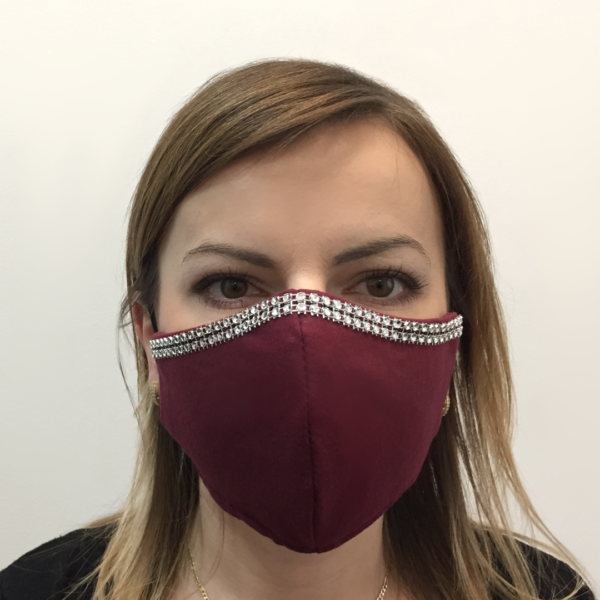 Bawełniana maska na twarz ze zdobieniem – damska Bordo