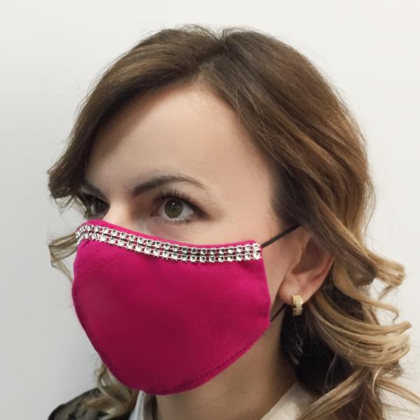Bawełniana maska na twarz ze zdobieniem – damska Różowa
