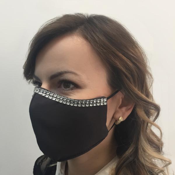Bawełniana maska na twarz ze zdobieniem – damska Grafitowa