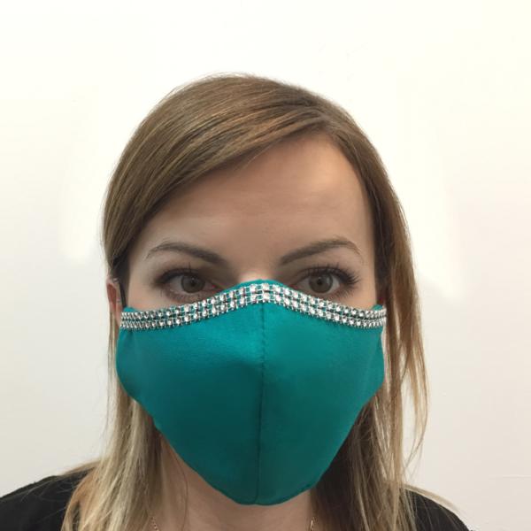 Bawełniana maska na twarz ze zdobieniem – damska Turkusowa