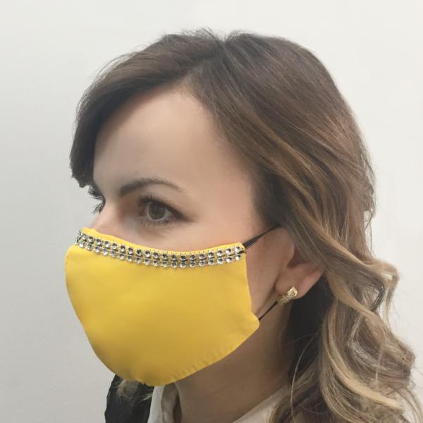 Bawełniana maska na twarz ze zdobieniem – damska Żółta